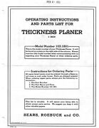 1952 Craftsman 103.1801 6x2 Thickness Planer-instructions And Parts List