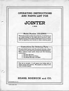 1950 Craftsman 103.23900 6-1/8 Jointer Operating Instructions And Parts List