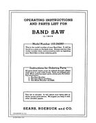 1952 Craftsman 103.24280 12 Band Saw-operating Instructions And Parts List