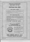 Craftsman 103.24530 Drill Press Operating Instructions And Parts List