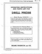 1955 Craftsman 103.23131 15 Drill Press-operating Instructions And Parts List
