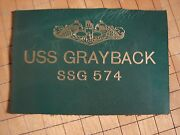 Original 60s Usnavy Nucsub Uss Grayback Ssg574 Leather Gold-embossed Name Patch