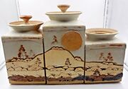 STUNNING LANDSCAPE ART POTTERY EARNS / LARGE LIDDED JARS WITH RUN ON LANDSCAPE