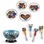 Romero Britto Kitchen Flower Set- Spreaders, Bowl, And Tea Bag Holders
