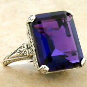 Antique Style 925 Sterling Silver 8 Carat Lab Amethyst Filigree Ring  933