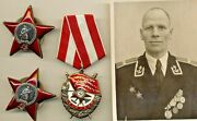 Russian Soviet Medal Order Badge Red Star Red Banner And Photo 1040