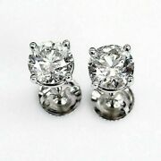 100 Natural Colorless And Shiny 1.43 Carats T.w. Diamond Stud Earrings 14kwg New