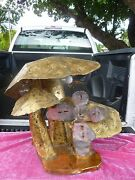 70and039s Brutalist Signed Dieter Torch Cut Brass And Copper Multiple Mushroom Lamp P