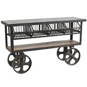 60 W Olivia Cabinet 4 Drawer Iron Cart On Casters Industrial Design Distressed