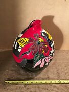 Pineda Signed Multi Color Art Studio Ceramic  Pottery Vase Sculpture Geometric