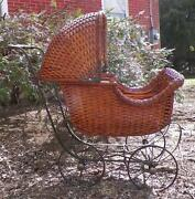 Antique Wicker Doll Carriage Buggy Moveable Top Parasol Holder Victorian Car Toy