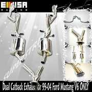 Emusa Catback Exhaust System W/ Dual Tips For 99-04 Ford Mustang 3.8l V6