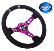 Nrg Deep Dish Steering Wheel 350mm Black Suede With Purple Spoke Limited Edition