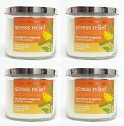 4 Bath And Body Works Stress Relief Eucalyptus Tangerine 3-wick Filled Candle 14.5