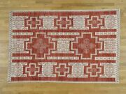 5and03910x8and03910 Pure Wool Hand-knotted Peshawar With Southwestern Motifs Rug R36481