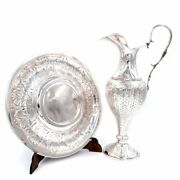 Italian Solid Silver Amphora With Chiseled Leaves Dish