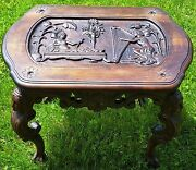 Antique 19th C Ornate Coffee Table W/egyptian Carved Wood Figural Heads And Scene