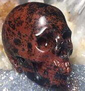 Mahogany Obsidian Crystal Skull Realistic Skull Carving. Red And Black Patterns