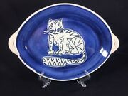 Studio Pottery Art Handmade Tiger Striped Cat Handle Serving Dish Plate Signed