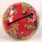 Vintage Tin Noisemaker Toy Comic Lovers Bell Wood Handle 10