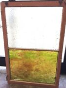 Large Vintage Chicken Wire Window 1920and039s Pebbled Stained Glass Window Transom