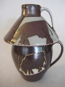 Cow Art Pottery Cup & Creamer Signed By Krusos (Rare)
