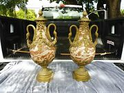 Semi Antique Louis 16 French Rouge Marble Urns With Bronze Swan Heads And Mounts