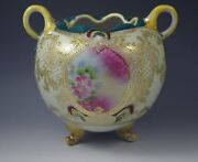 Antique Nippon Moriage Handled Vase Rose Bowl 1890and039s Cherry Blossom Mark