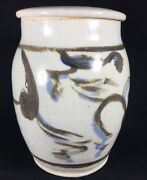 Vintage Handmade Studio Pottery Art Abstract Brush Storage Container Jar Signed