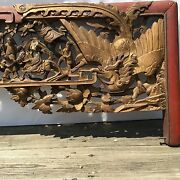 19th C. Chinese Carved Gilt Wood Figural Phoenix Lacquered Panel/headboard 76 L