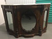 Antique 1800and039s Burl Walnut Mirrored Sideboard Server Buffet Marble Top