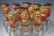 Lot Of 12 Anri Vintage Italy Wooden Bottle Stoppers Folk Art Hand Carved 1