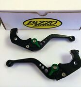 Pazzo Levers For Kawasaki Zx14r And Concours 14 2006 - 2017 Black With Green