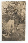 1930s Risque Photo Of Pretty Hawaiian Girl In Grass Skirt Flowers On Breasts