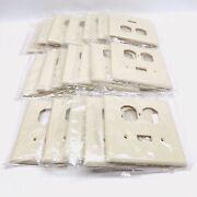 Lot Of 25 Eagle 2038v Mid-size 2-gang Combo Switch + Duplex Outlet Cover Ivory