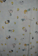 Peanuts Gang / Snoopy Flat Bed Sheet 1980s Vintage Fabric - Alphabet