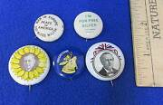 Vintage Political Campaign Buttons Wilson Bryan Sunflower Head Moose Lot Of 5