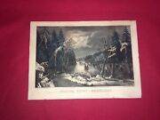 Original Currier And Ives Print Skating Scene Moonlight New Best 50 Small Folio