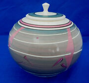 Stunning Janet Belden Art Pottery Pot Lid Cut Green Pink Pattern Modern SW Look