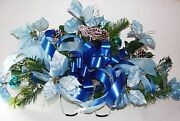 Ship Nationwide Periwinkle Blue Christmas Poinsettias Cemetery Tombstone Saddle