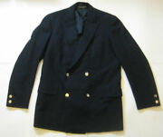 Brooks Brothers 346 42r Rich Navy Blue Double Breasted Gold Buttons Blazer Vtg