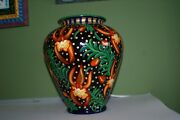 Signed Hand painted Art Glass Vase Urn Orchid Cattleya Trick or Treat DGO68