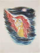 Reuven Rubin Original Lithograph King David Protected By Angel Signed/numbered