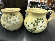 Signed Hilton Dogwood Creamer And Sugar Catawba Valley Pottery