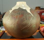 Artisan Handcrafted Signed Art Studio Vase Pot Pottery Ceramic Clay Iridescent
