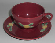 Coors Pottery Rosebud Red Cup And Saucer Set