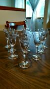Antique Etched Crystal Cordial/wine Glasses