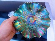Northwood Sapphire Good Luck Ruffled Bowl - Outstanding Color