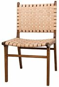 35 Set Of Two Dining Chair Solid Brown Teak Wood Naked Leather Woven