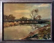 Old North Bridge Concord Mass. - Antique Impressionist Style Oil Painting